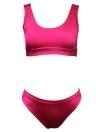 Sexy Frauen-Bikini-Set Solid Color O-Ansatz Sleeveless beiläufige elegante Badeanzug Badebekleidung Badeanzug Zweiteiler