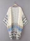 Frauen Kimono Cardigan Sommer-Chiffon- Blusen-Spitzen-Druck lange lose Strand-Vertuschung-Gelb