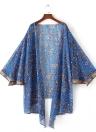 Weinlese-Frauen Chiffon Kimono Cardigan Blumenblätter drucken lose Oberbekleidung Bademode Bikini-Vertuschung-Blau