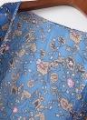 Vintage Femmes en mousseline de soie Kimono Cardigan Feuilles imprimé floral en vrac Beachwear Bikini couverture d'extérieur, Bleu