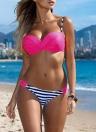 Contrasto Sexy Colore Underwire spinge verso l'alto a strisce Stampa Dot Bikini delle donne