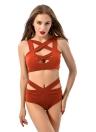 Bikini donne sexy Set costume da bagno cut-out profondo scollo a V vita alta benda due pezzi Costumi da bagno costume da bagno
