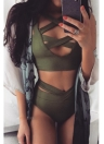 Sexy Frauen-Bikini-gesetzter Badeanzug-Ausschnitt tiefer V-Ausschnitt mit hohen Taille Bandage Zweiteilige Badebekleidung Zu