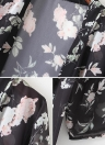 Chiffon Floral Slit Hem Open Front Long Sleeve Women's Long Kimono