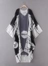 Drucken Chiffon Longline Loose Contrast Kimono