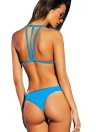 Sexy Solid Halter Bandages Backless  Two Piece  Bikini Set