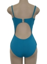 Sexy Bandage Hollow Out Solid Ruched Beach Women's  One-piece Swimsuit