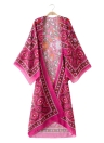Copricapo in chiffon estivo di bikini copre in su il Kimono stampato Boho lungo delle donne