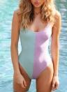 Sexy Women High Cut Backless Block Baixo Pescoço One Piece Bathing Suits