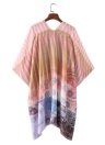 Front Floral Print 3/4 Sleeves Beach Thin Casual Outerwear