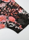 Vintage Chiffon Loose Front Floral Print Half Sleeves Quilôma das mulheres finas