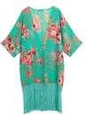 Summer Bikini Cover Up Floral Print Chifon Semi-sheer Kimono feminino