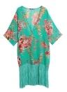Sommer Bikini Cover Up Floral Print Chiffon Semi-Sheer Frauen Kimono