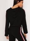 Женщины с капюшоном с капюшоном Drawstring Crop Top High Waist Casual Sweat Suit
