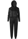 Women Tracksuit Hooded Drawstring Crop Top High Waist Casual Sweat Suit