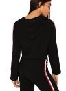 Frauen Trainingsanzug mit Kapuze Kordelzug Crop Top hohe Taille lässig Trainingsanzug