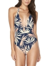 Sexy Women One Piece Swimsuit Swimwear Deep V Neck Leaf Print Push Up  Padded Bathing Suit Beach Wear