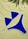 Sexy Frauen Riemchen Halter Tiefem V-Ausschnitt Rückenfreie Niedrige Taille Thong Bikini Set
