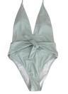 Frauen V-Ausschnitt Bow Solid Badeanzug Einteiler Badeanzug