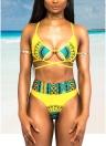 Set di bikini strappy stampato etnico retrò donne sexy bendaggio