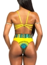 Women Sexy Bandage Retro Ethnic Printed Strappy Bikini Set