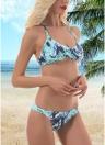 Bikini da spiaggia imbottito da donna con fiocco in stampa vintage