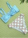 Costume da bagno donna con fiocco Bikini imbottito stampa polka dot perizoma Biquini Swimwear