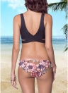 Sexy Women Floral Print Cross Push Up Top Bottom Conjunto de biquíni de praia