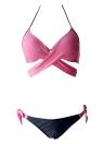 Bikini da donna Set Halter Cross Padding Vita bassa Biquini Swimwear Swimsuit