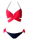Frauen Bikini Set Halter Cross Padding Low Waist Thong Biquini Bademode Badeanzug