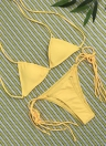 Sexy Frauen Bikini Set Solide Bandage Riemchen Halter Top Tanga Zweiteilige Bademode Strand Badeanzug Badeanzug