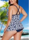 Traje de banho de tamanho grande para mulheres Conjunto de duas peças Mergulhar V Folhas Imprimir Sem moldura sem costura com bainha Sexy Swimwear