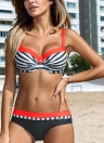 Women Bikini Set Swimwear Swimsuit Stripe Dot Print Contrast Push Up Underwire Padded Two Piece Bathing Suit