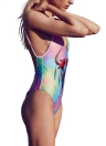 Mulheres Colorful Bull Tie Dye Plunge V Padded Push Up One Piece Swimsuit