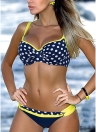Damen Low Waisted Dot Print Underwire Zweiteiler Bikini Set