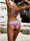 Sexy Women Cross Strap Vintage Printed Tie Back Bikini Set