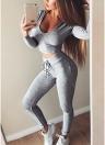 Сексуальные женщины 2-Piece Set с капюшоном Crop Top с длинным рукавом тренажерный зал йога тренировки Фитнес брюки Hoodie поножи костюм костюм