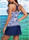 Sexy Frauen Print Riemchen Gepolsterte Top Open Back Hohe Taille Skirted Tankini Set