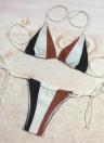 Sexy Frauen Bikini Set Kontrast Farbe Block Bandage Riemchen Halter Top Thong Zweiteilige Bademode Strand Badeanzug Badeanzug