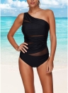 Sexy One Piece Swimsuit Women Summer Beachwear Mesh One Shoulder Swimwear Bodycon Bodysuit Bathing Suit