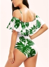 Sexy Women Floral Print Strappy One Piece Ruffle Trim Padding Swimwear