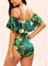 Sexy Frauen-Blumendruck-Riemchen-Einteiler-Rüschen-Ordnung, die Badebekleidung aufputzt