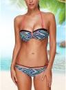 Sexy Frauen Bikini Set Halter Striped Geometrische Print Bandage Underwire 3/4 Cups Badeanzug Badeanzüge