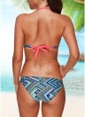 Sexy Women Bikini Set Halter Striped Geometric Print Bandage Underwire 3/4 Cups Bathing Suit Swimsuits