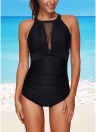 Sexy Women One Piece Swimsuit Swimwear Mesh Splicing Back Hollow Out Push Up Beachwear