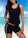 Sexy Women Tankini Set Swimsuit Striped Padded Top Bottoms Swimwear Two Piece Bathing Suit