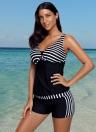 Mulheres Striised Tankini Shorts Swimsuit V Neck Racer Back Padded Wireless 2pcs Bikini Set Swimsuit Swimwear