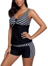 Women Striped Tankini Shorts Swimsuit V Neck Racer Back Padded Wireless 2pcs Bikini Set Swimsuit Swimwear