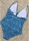 Women One Piece Swimsuit Swimwear Deep V-Neck Lace Up Bathing Suit Backless Printed Beachwear Monokini
