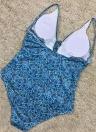 Mulheres One Piece Swimsuit Swimwear Deep V-Neck Lace Up Banquete de roupa Backless Printed Beachwear Monokini